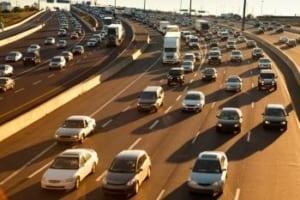 Interstate Traffic Jam Stock Photo