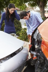 Drivers Examining Rear End Accident Stock Photo