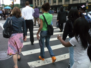 Pedestrians At A Crosswalk Stock Photo