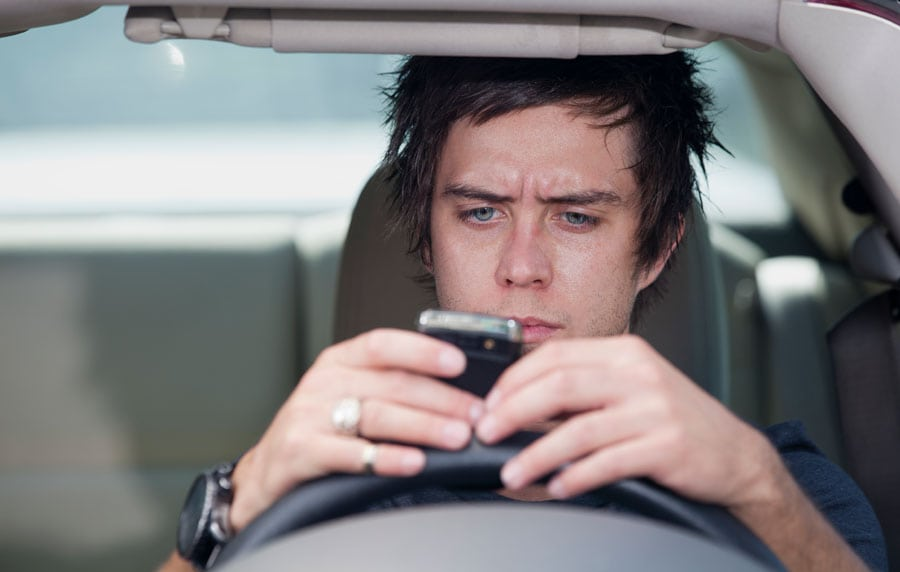 Distracted Driver Stock Photo