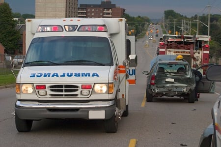 Ambulance Car Accident Stock Photo