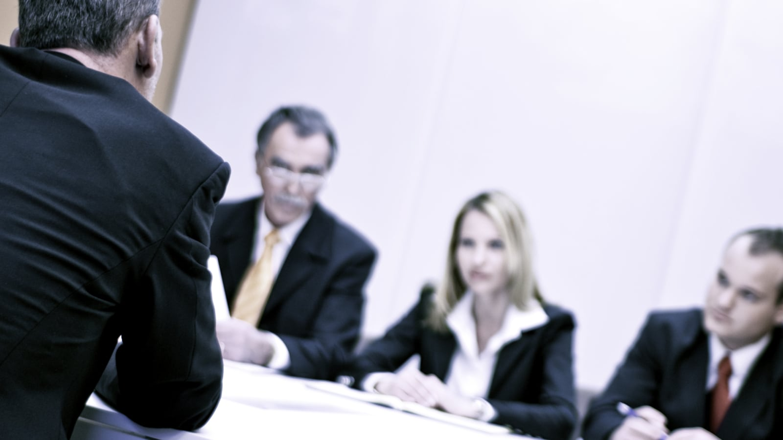 Lawyers Mediating In A Conference Room Stock Photo