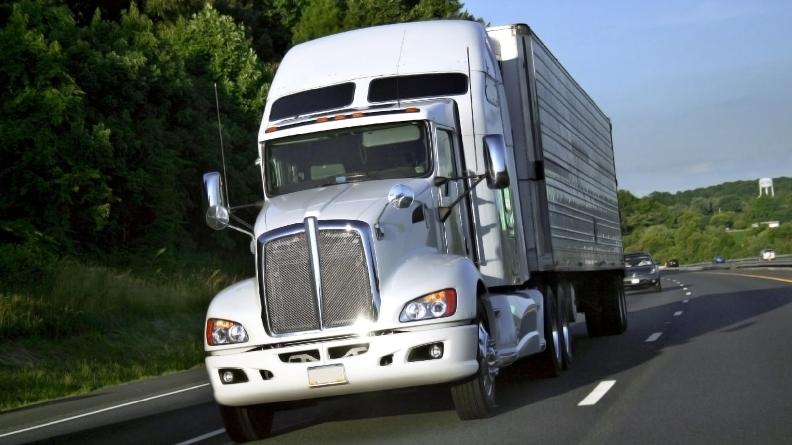 18-Wheeler Driving Stock Photo