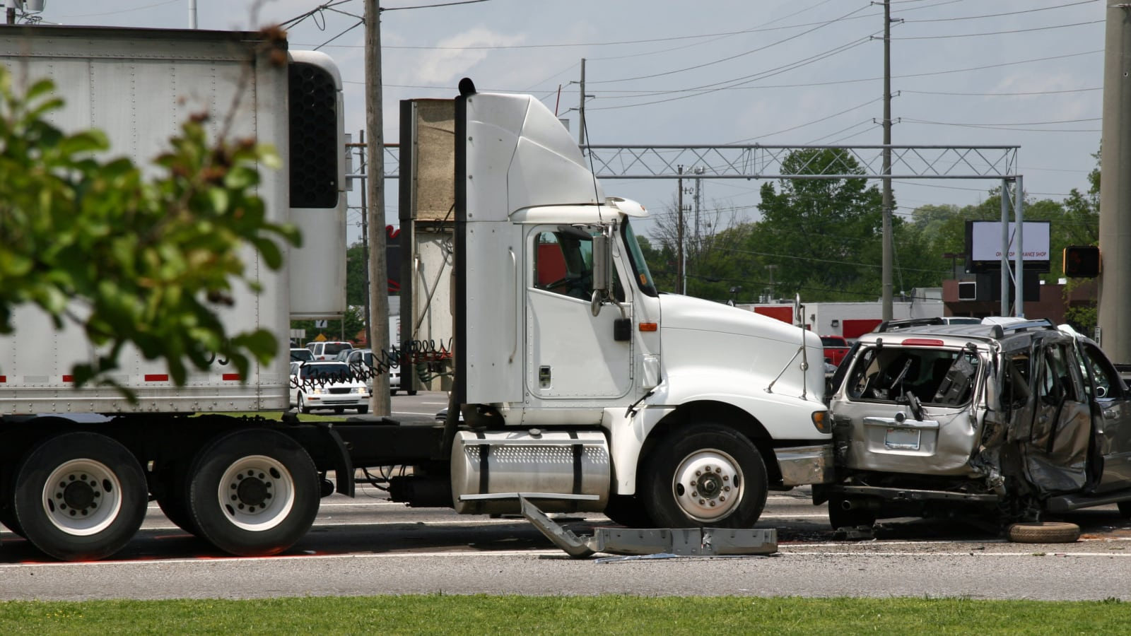 Tractor Trailer Collision Stock Photo
