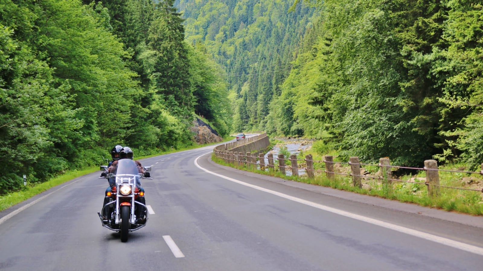 Motorcycle Riders Green Landscape
