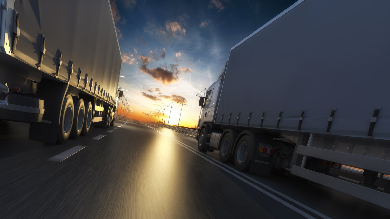 18-Wheelers Highway Stock Photo