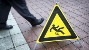 Caution Slippery Sign Stock Photo