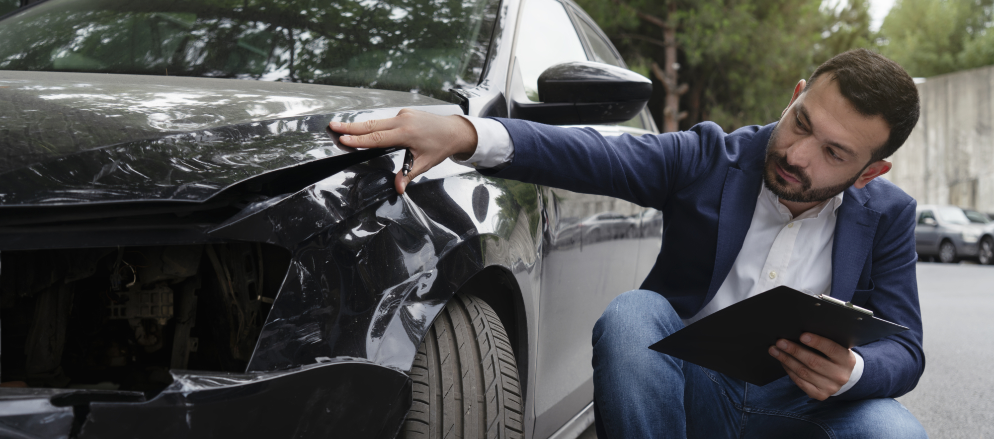 an insurance adjuster evaluating a car accident claim