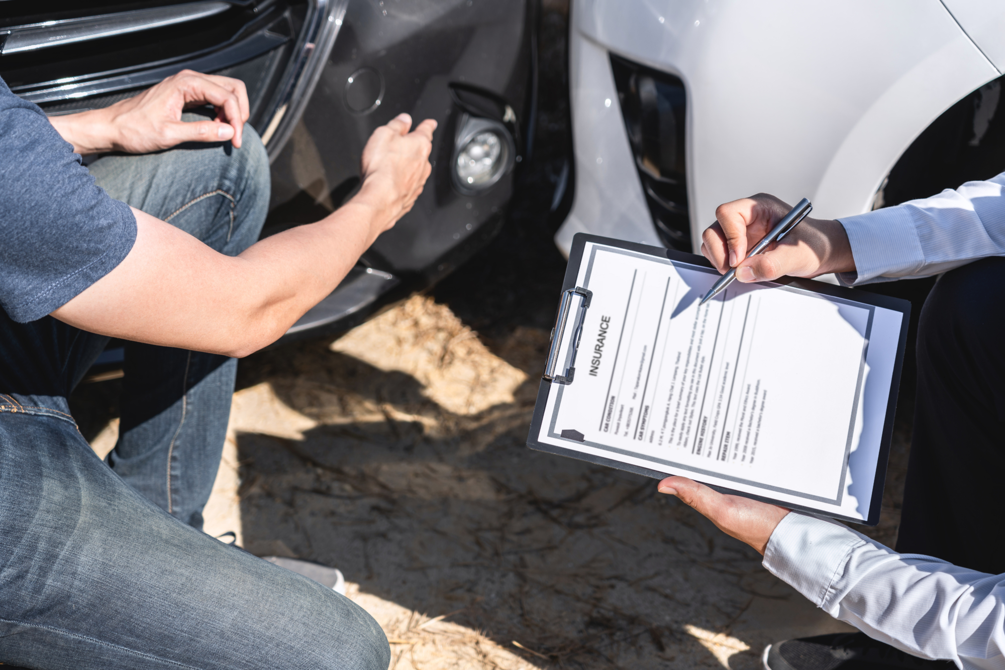 an insurance adjuster evaluating a claim after an accident in Bangor, ME