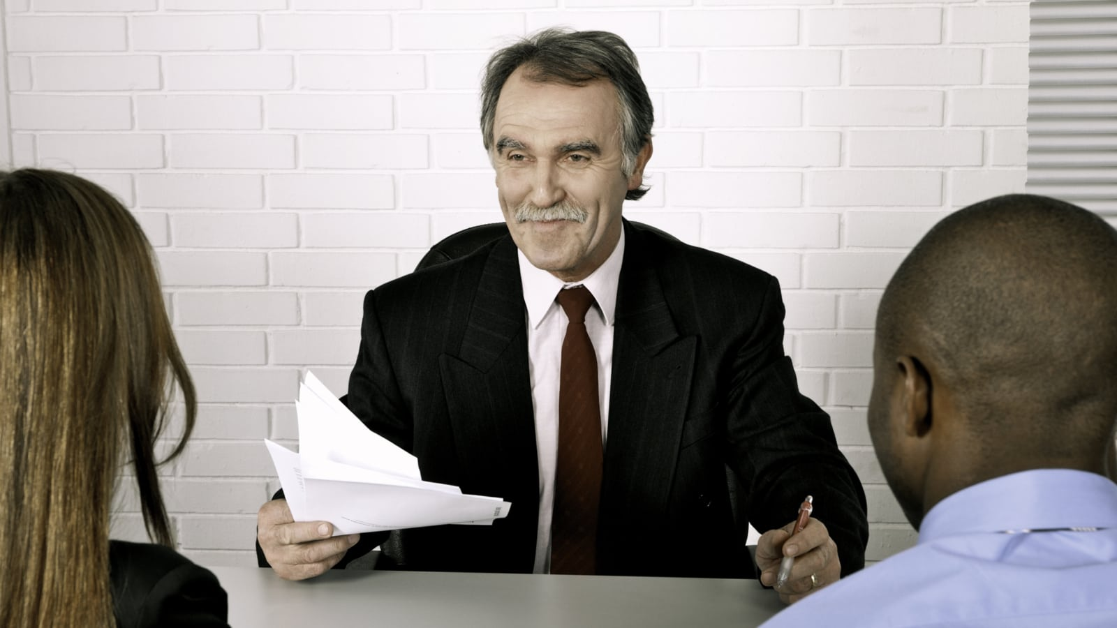 Attorney With Clients Stock Photo