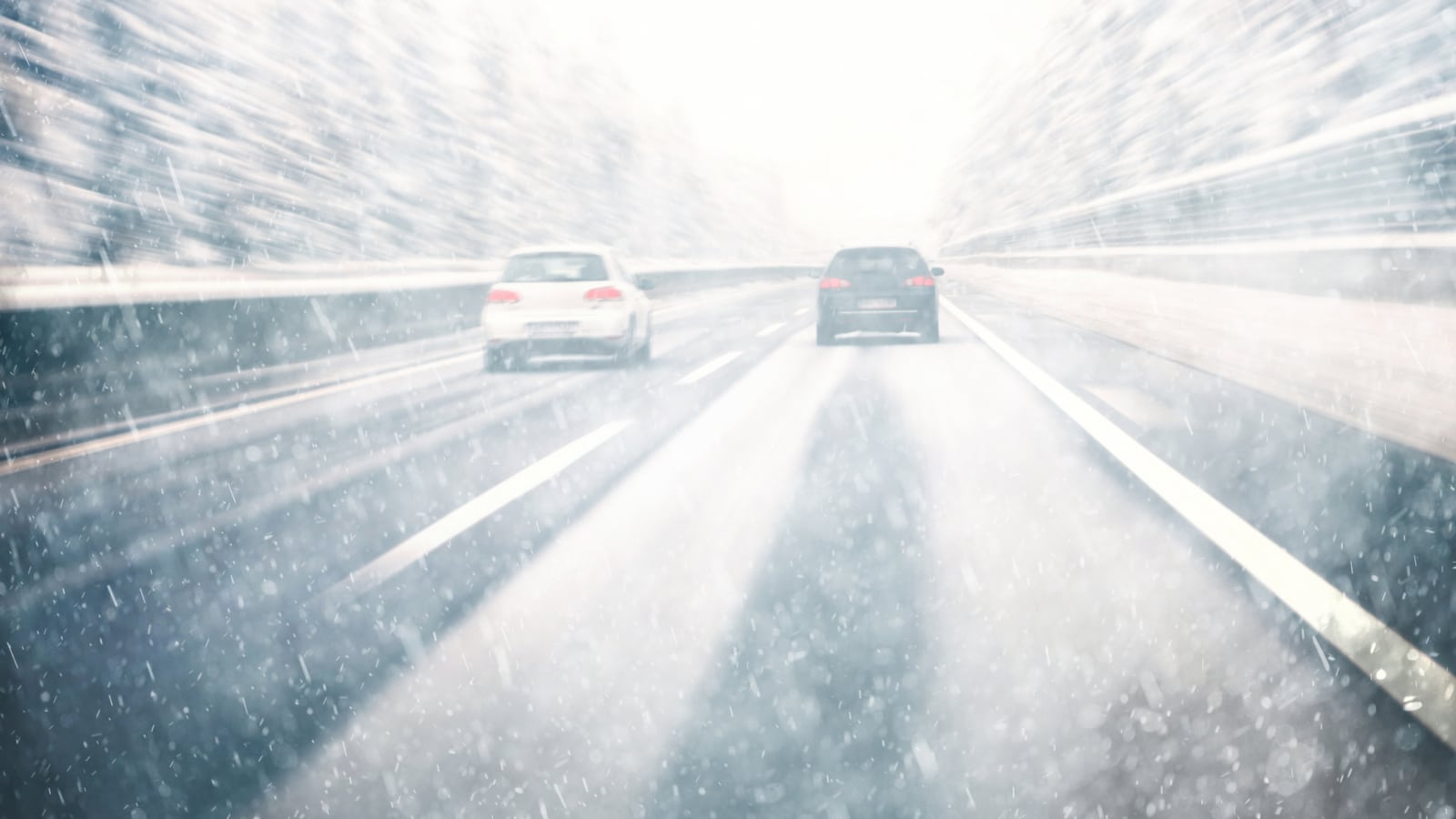 Snowy Driving Interstate Stock Photo